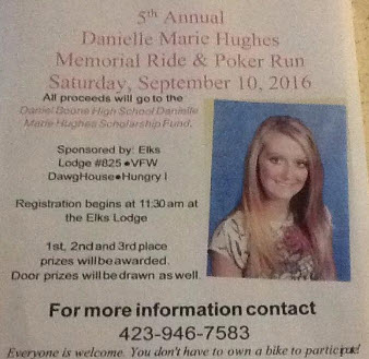 Danielle Marie Hughes Memorial Ride & Poker Run